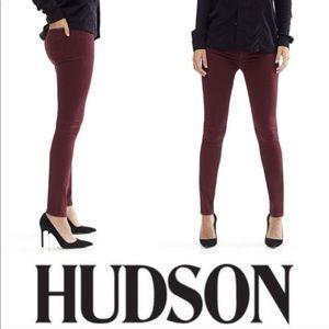Hudson Nico High Rise Maroon Burgundy Skinny Jeans